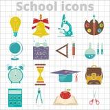 Ensemble d'icône de 20 écoles plate Image libre de droits