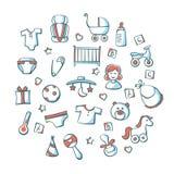 Ensemble d'icône de bébé d'isolement sur le blanc Photographie stock