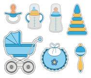 Ensemble d'icône de bébé garçon Image libre de droits