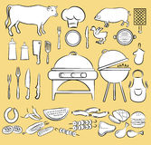 Ensemble d'icône de barbecue Illustration de Vecteur
