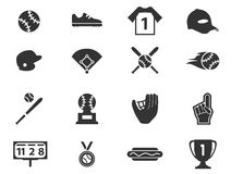 Ensemble d'icône de base-ball Photo libre de droits