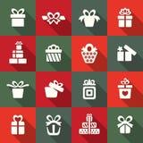 Ensemble d'icône de boîte-cadeau Photo libre de droits