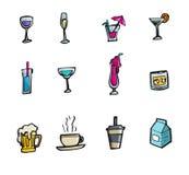 Ensemble d'icône de boissons et de cocktails de vecteur Images stock