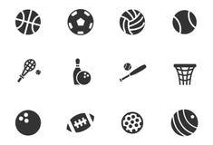 Ensemble d'icône de boules de sport Photos stock