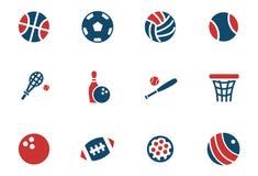 Ensemble d'icône de boules de sport Photo libre de droits