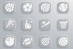 Ensemble d'icône de boules de sport Photos libres de droits