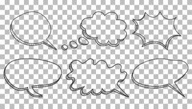 Ensemble d'icône de bulles de la parole Illustration tirée par la main de vecteur sur l'isola illustration stock