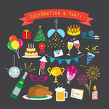 Ensemble d'icône de célébration et de partie Photos libres de droits