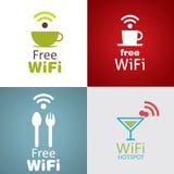 Ensemble d'icône de café de Wifi Photo stock