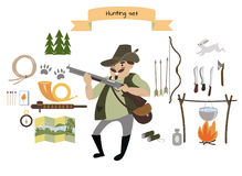 Ensemble d'icône de chasse Style plat Illustration de vecteur Images libres de droits