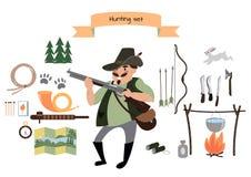 Ensemble d'icône de chasse Style plat Illustration de vecteur Photo libre de droits