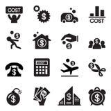 Ensemble d'icône de coût d'affaires illustration de vecteur