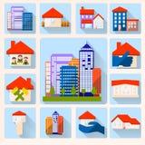 ensemble d'icône de couleur de maison Photos stock