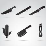 Ensemble d'icône de couteau Image libre de droits