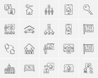 Ensemble d'icône de croquis d'immobiliers illustration de vecteur