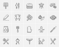Ensemble d'icône de croquis de barbecue Photos stock