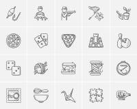 Ensemble d'icône de croquis de passe-temps illustration libre de droits