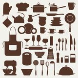 Ensemble d'icône de cuisine et de restaurant d'ustensiles Images stock
