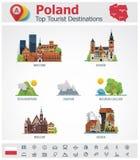 Ensemble d'icône de destinations de voyage de la Pologne de vecteur Photo libre de droits