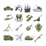 Ensemble d'icône de différentes armes d'armée Équipement de militaires et de police Photos de vecteur dans le style plat illustration de vecteur