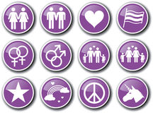 Ensemble d'icône de fierté gaie Photos libres de droits