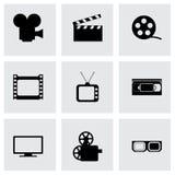 Ensemble d'icône de film de vecteur Photographie stock