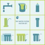 Ensemble d'icône de filtre d'eau du robinet Filtres de purification d'eau de boissons illustration de vecteur