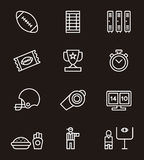 Ensemble d'icône de football américain Image libre de droits
