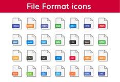 Ensemble d'icône de format de fichier grand Photo libre de droits