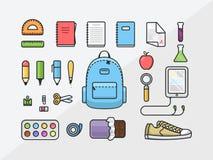 Ensemble d'icône de fournitures scolaires, de nouveau à l'illustration d'ensemble d'école, calibre plat de kit éducatif Images stock