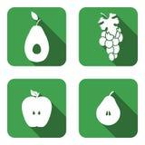 Ensemble d'icône de fruit vert Photos libres de droits
