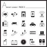Ensemble d'icône de graphique d'élément d'aéroport Paquet 3 Paquet mono Graphique l Photographie stock libre de droits
