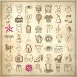 ensemble d'icône de griffonnage de dessin de 49 mains Photos stock