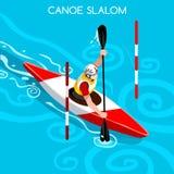 Ensemble d'icône de jeux d'été de canoë de slalom de kayak Paddler isométrique du canoéiste 3D Course de compétition sportive de  Images libres de droits