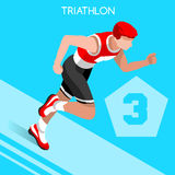 Ensemble d'icône de jeux d'été de triathlon Athlète isométrique Triathlete des Jeux Olympiques 3D Route courante C sportif de rec Image libre de droits