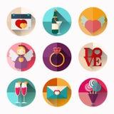 Ensemble d'icône de jour du ` s de Valentine, conception plate de style, longue ombre Images stock