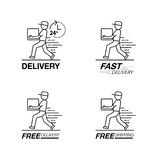 Ensemble d'icône de la livraison Le service de livreur, ordre, 24 heures, jeûnent Image libre de droits