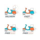 Ensemble d'icône de la livraison Service de moto de scooter, ordre, 24 heures, f illustration de vecteur