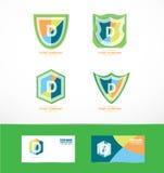 Ensemble d'icône de logo de bouclier de la lettre d Images stock