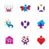 Ensemble d'icône de logo de conscience environnementale de forme de coeur d'émotion d'amour de part illustration de vecteur