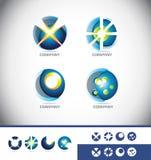 Ensemble d'icône de logo de la sphère 3d illustration libre de droits