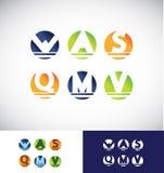 Ensemble d'icône de logo de lettre d'alphabet de sphère de cercle illustration libre de droits