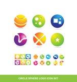 Ensemble d'icône de logo de sphère de cercle illustration de vecteur