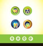 Ensemble d'icône de logo de sphère de lettre d'alphabet illustration stock