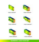 Ensemble d'icône de logo des nombres 3d Images stock