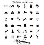 Ensemble d'icône de mariage Images stock