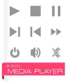 Ensemble d'icône de media player de vecteur Images stock