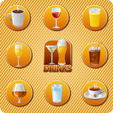 Ensemble d'icône de menu de boissons Photographie stock libre de droits