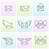 Ensemble d'icône de messages électroniques de vol Photo libre de droits