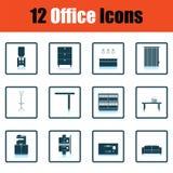 Ensemble d'icône de meubles de bureau illustration de vecteur